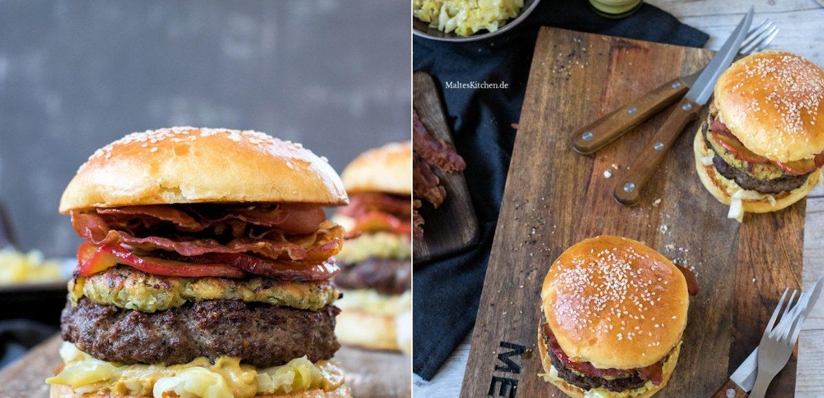 Rezept für einen deftigen Burger mit Spitzkohl, Zwiebel-Senf-Krüste und karamellisierten Zwiebeln