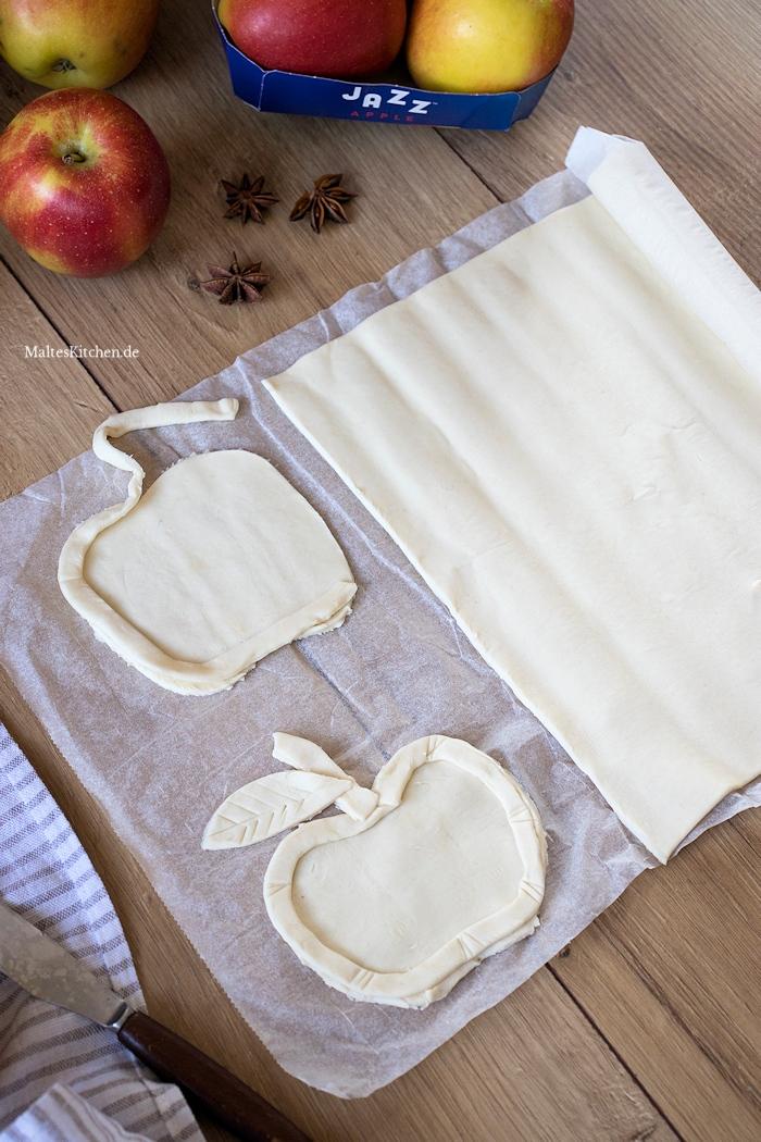 Äpfel aus Blätterteig formen