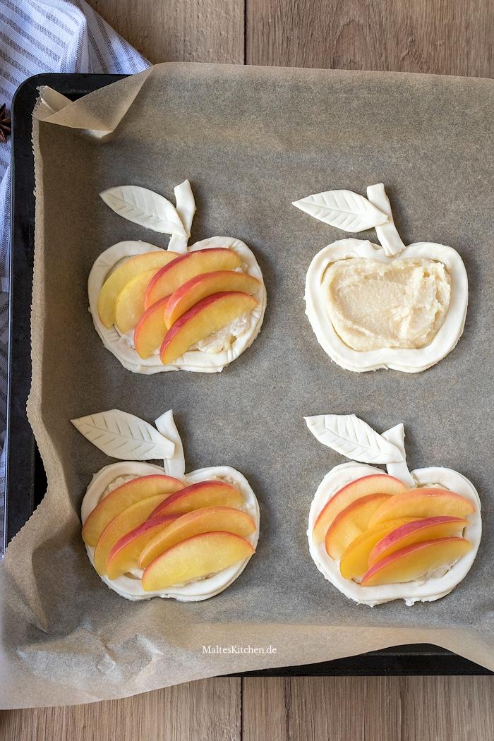 Blätterteig mit Äpfel und Marzipancreme