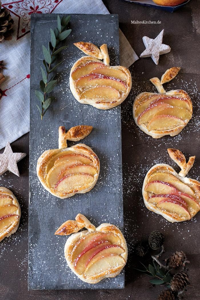 Süße Blätterteigäpfelchen mit Marzipancreme