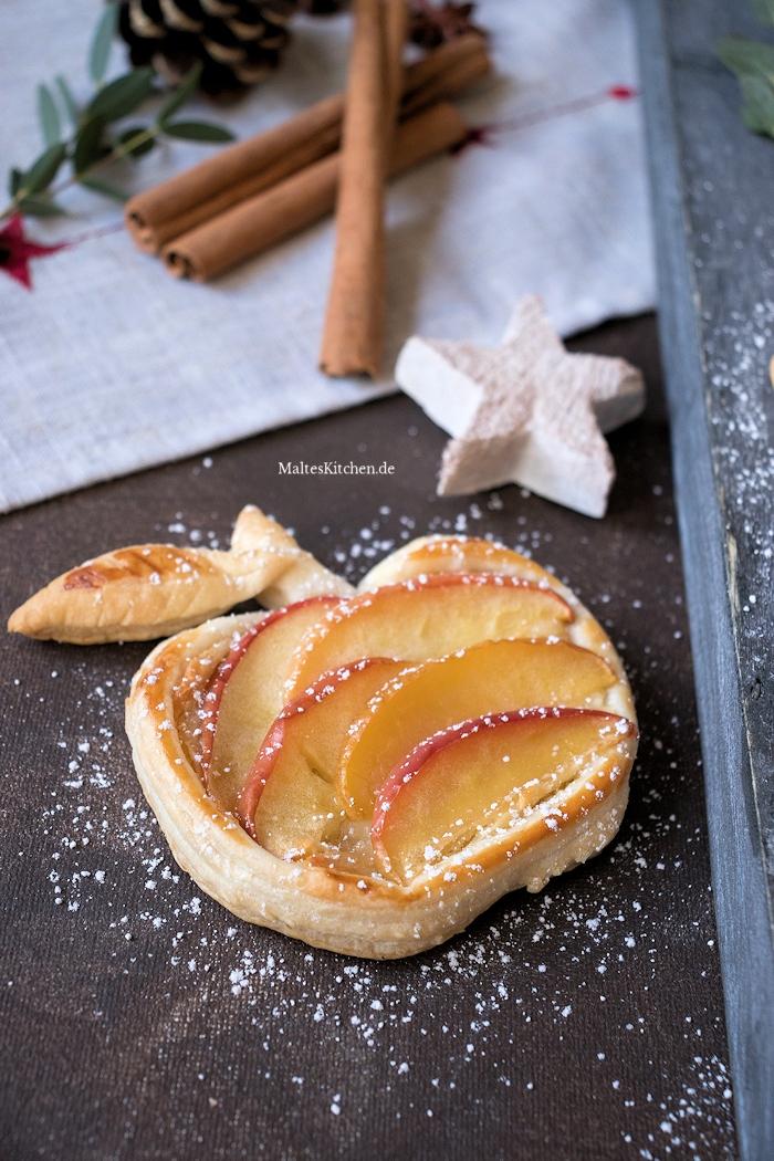 Wunderschön geformte Äpfel aus Blätterteig