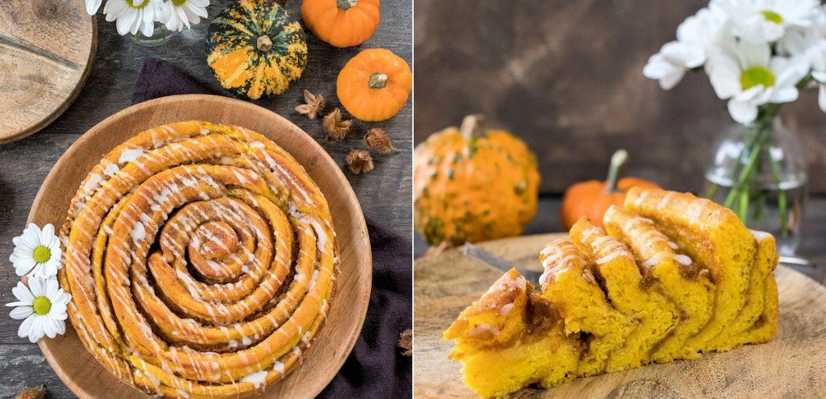 Rezept für eine riesige Pumpkin Spice Hefeteigschnecke mit Kürbis