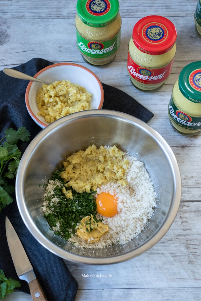 Zubereitung der Zwiebel-Senf-Kruste