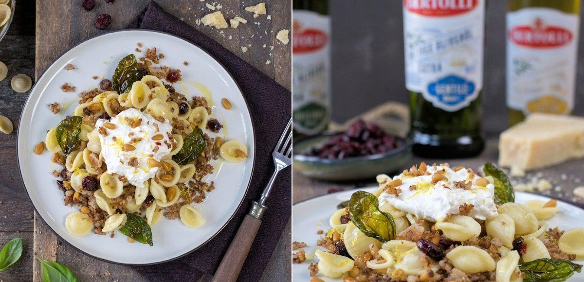Rzeept für Orecchiette mit geröstetem Blumenkohl, Cranberrys und Burrata