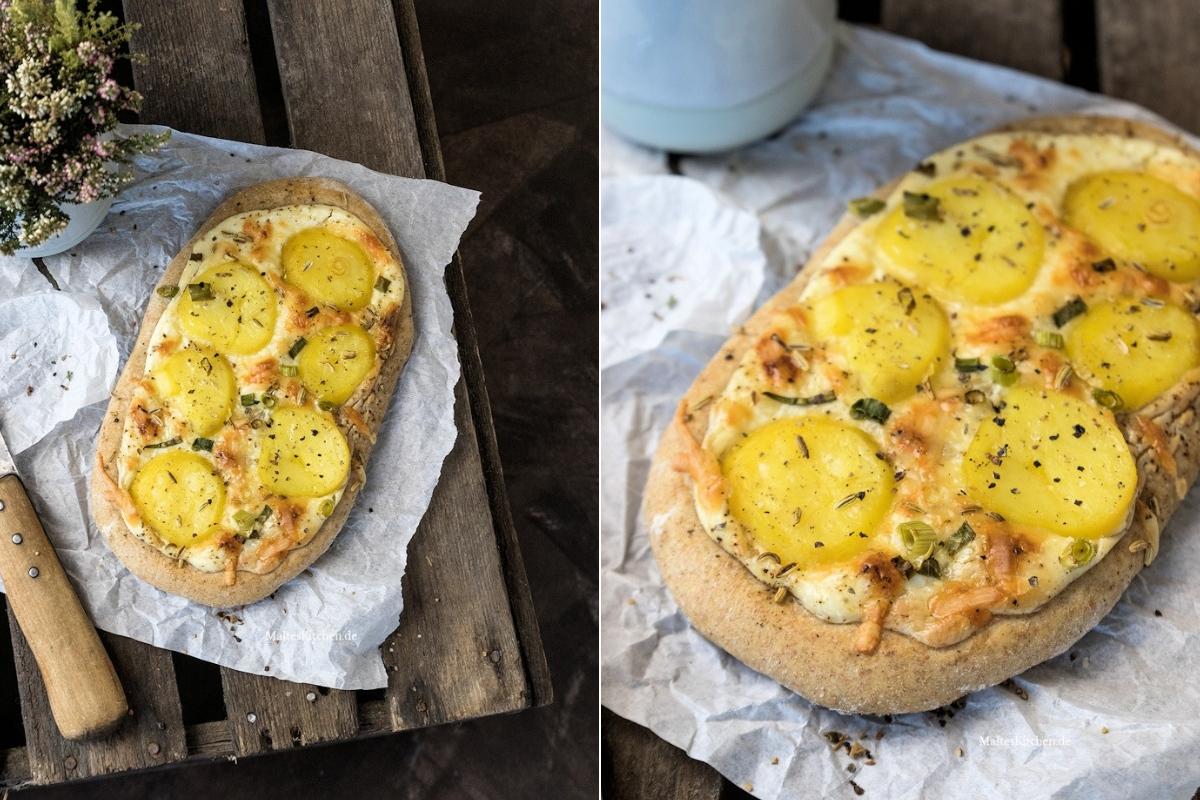Rezept für Kartoffel Fladen mit Schmand, Frühlingszwiebeln und Speck