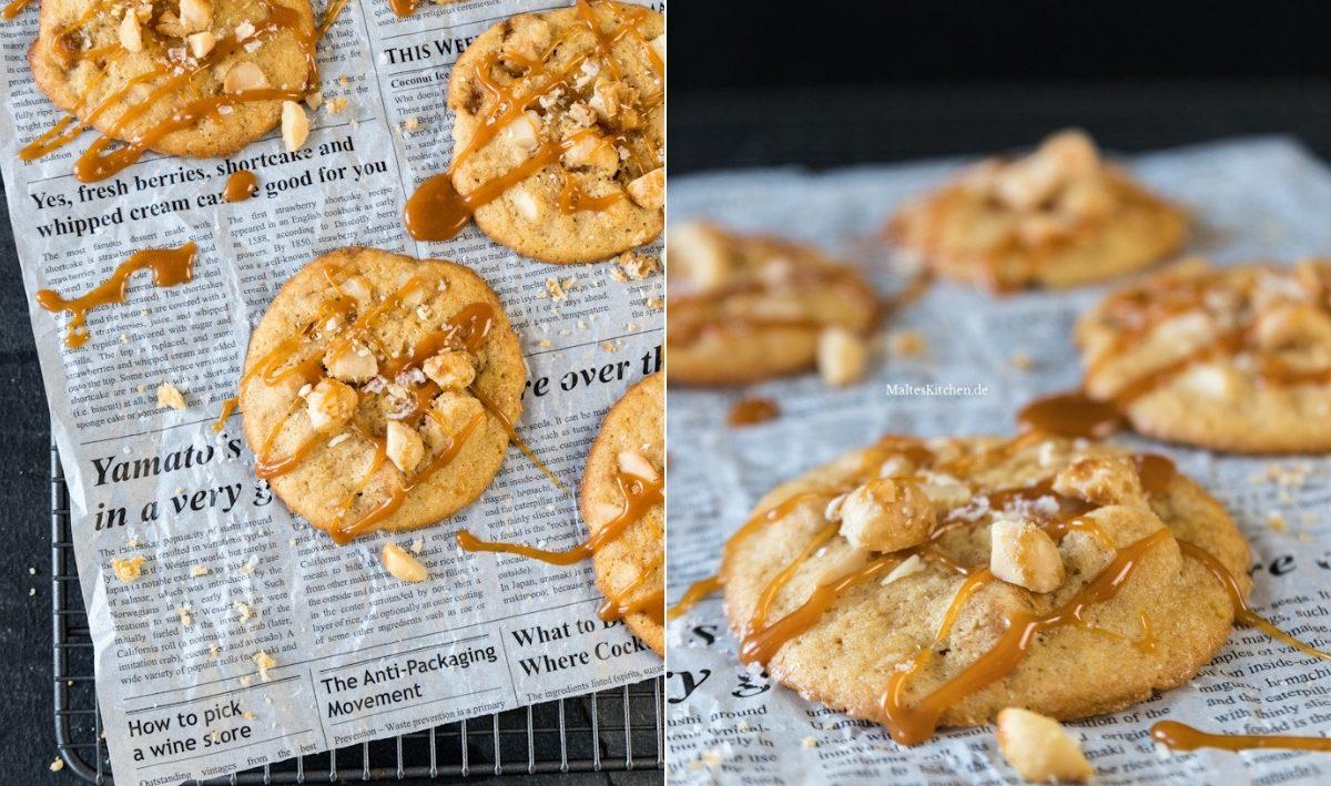 Rezept für knusprige Macadamia-Cookies mit Karamellsauce und Meersalz
