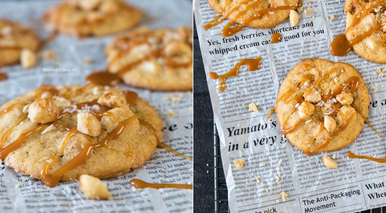 Rezept für Macadamia-Cookies mit Karamellsauce und Meersalz