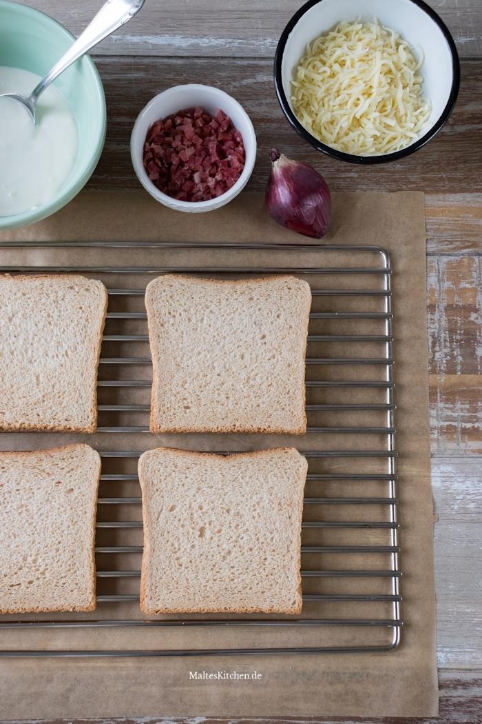 Zutaten für den Flammkuchen-Toast
