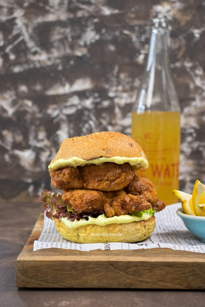 Knsupriger Fried Chicken Burger selbstgemacht