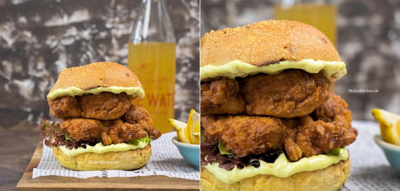 Rezept für einen Fried Chicken Burger mit Curry-Mayonnaise