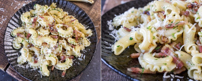 Rezept für schnelle Pasta mit Speck und Zwiebeln