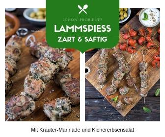 Saftige Lammspieße und Kichererbsensalat