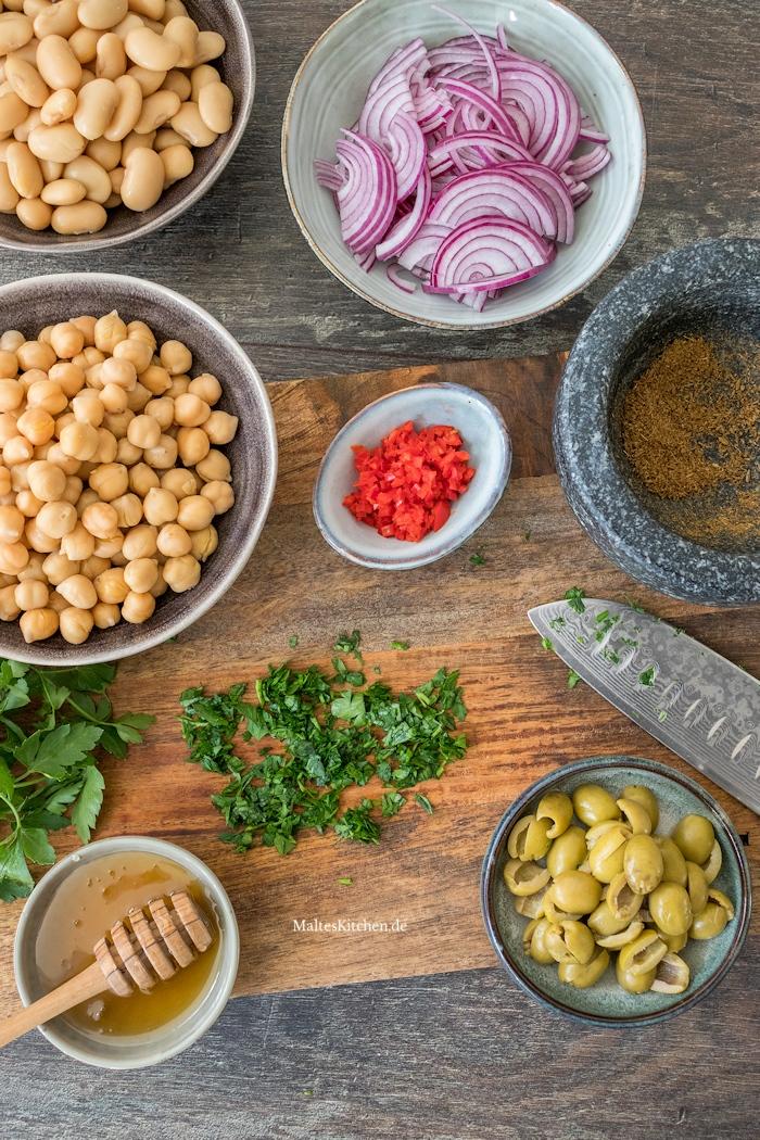 Zutaten für den Kichererbsensalat