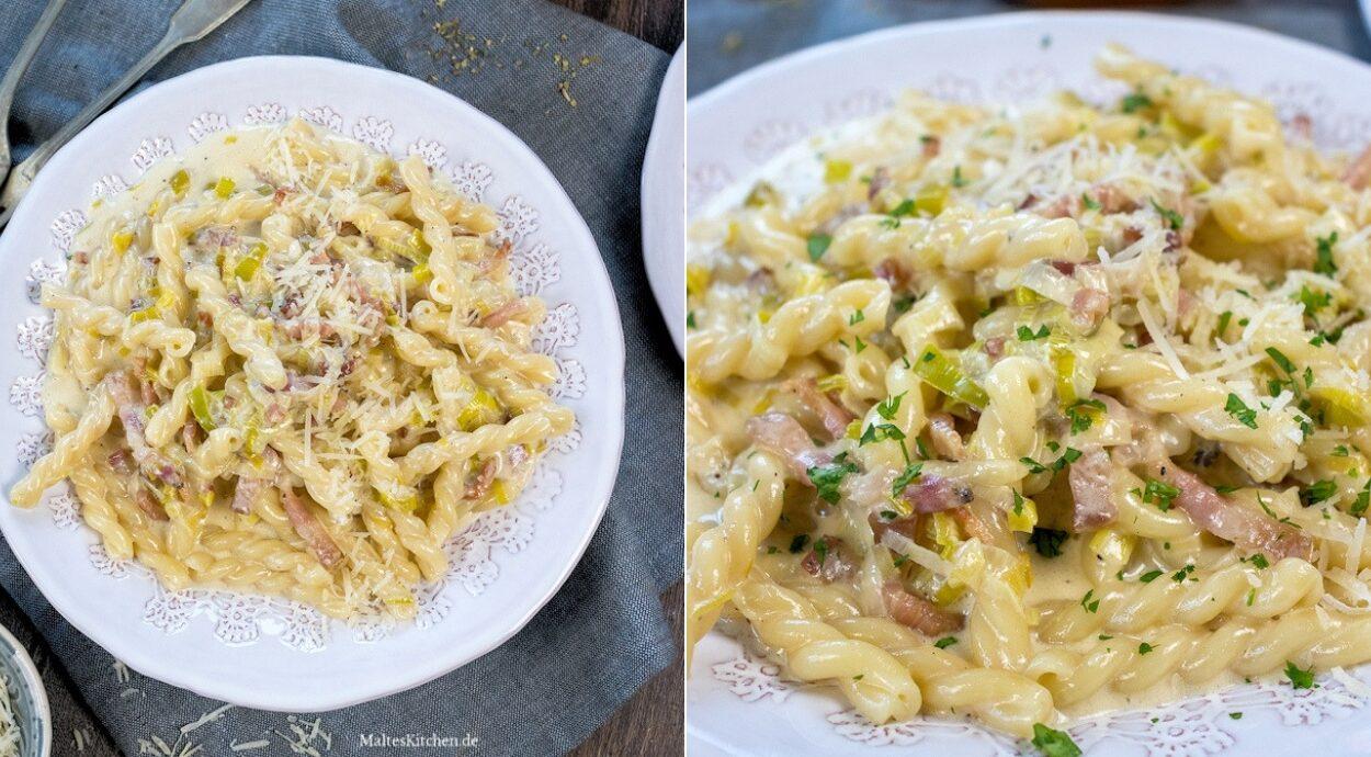 Rezept für Pasta mit Speck und Lauch in einer Sahnesauce
