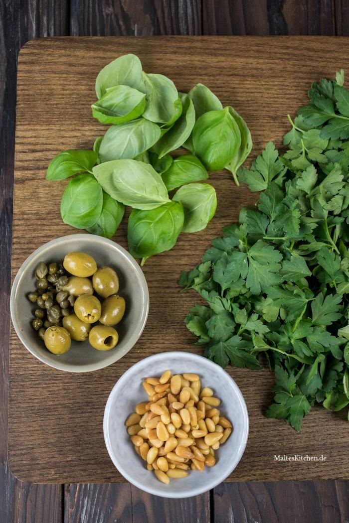 Zutaten der Salsa Verde