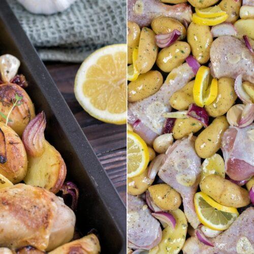 Rezept für Knoblauch-Hähnchen aus dem Ofen