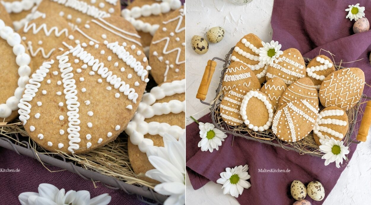 Rezept für mürbe Ostereier Shortbread Kekse