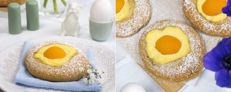 Rezept für süße Spiegeleier mit Pudding und Aprikosen