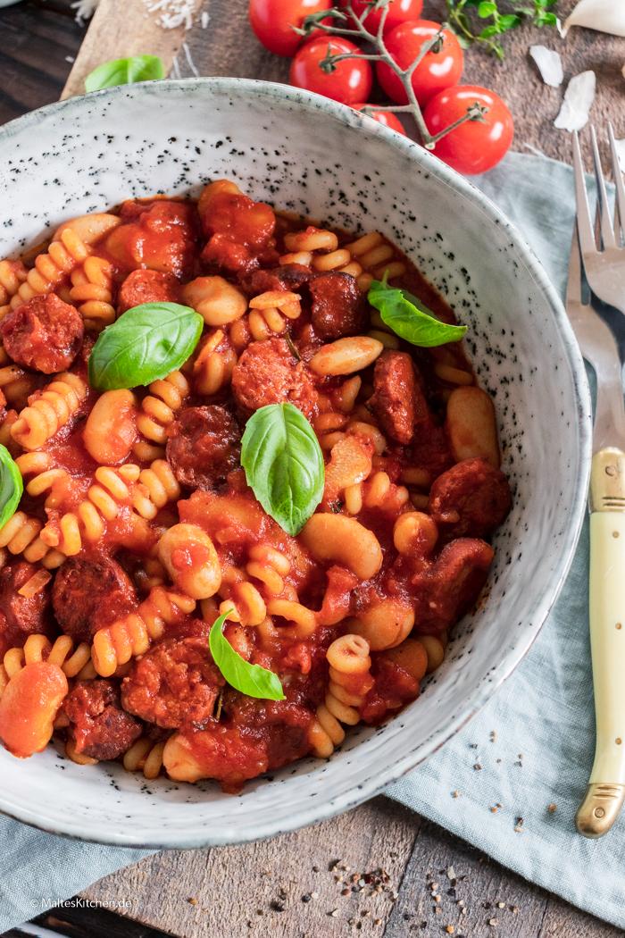 Leckere Pasta mit Chorizo