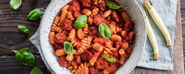 Rezept Pasta mit Chorizo und weißen Bohnen