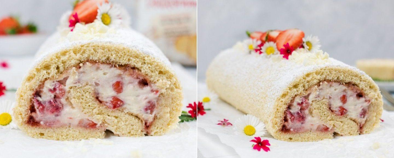 Rezept Biskuitrolle mit Erdbeeren und Mascarpone