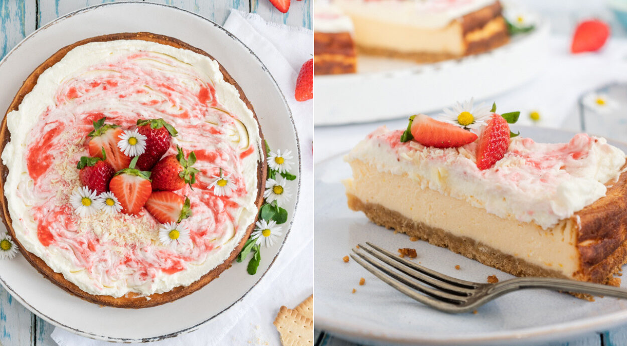 Rezept schneller Käsekuchen mit Erdbeeren und Erdbeersahne