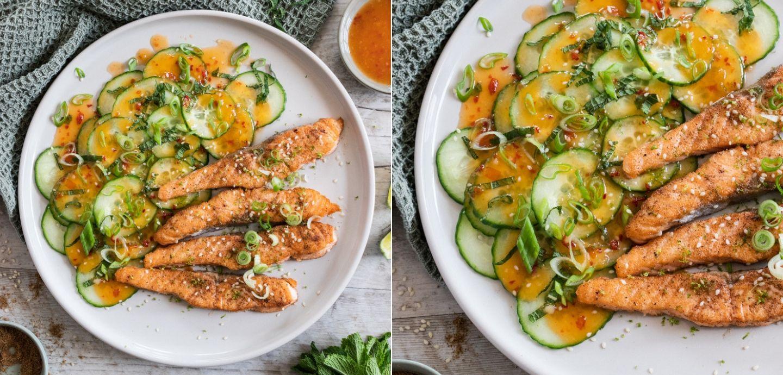 Rezept für gebratenen Lachsstreifen mit asiatischem Gurkensalat