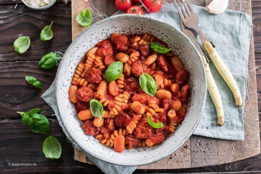 Rezept Pasta mit Chorizo und Bohnen