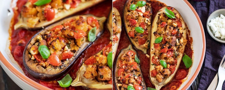 Rezept gefüllte Auberginen aus dem Ofen mit pikanter Tomatensauce