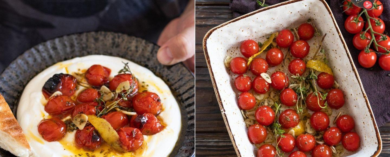 Rezept für im Ofen geröstete Honigtomaten mit Joghurt