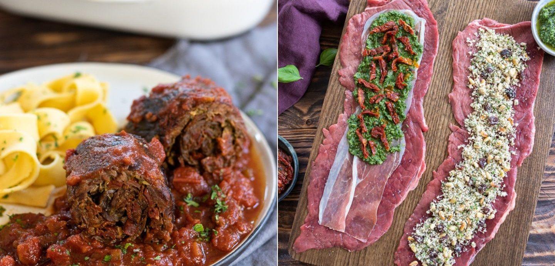 Rezept für mediterrane Rinderrouladen mit Tomatensauce