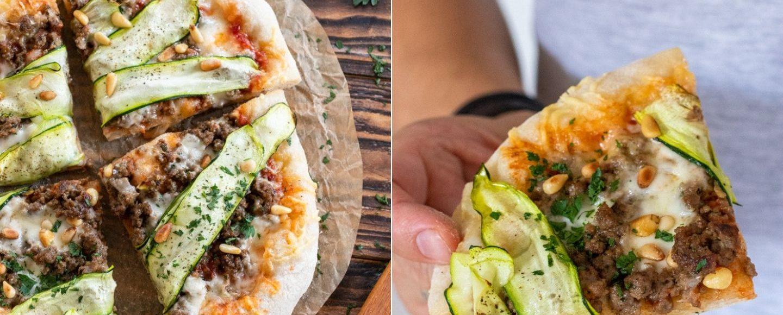 Rezept orientalische Pizza mit Hackfleisch, Zucchini und Taleggio vom Grill