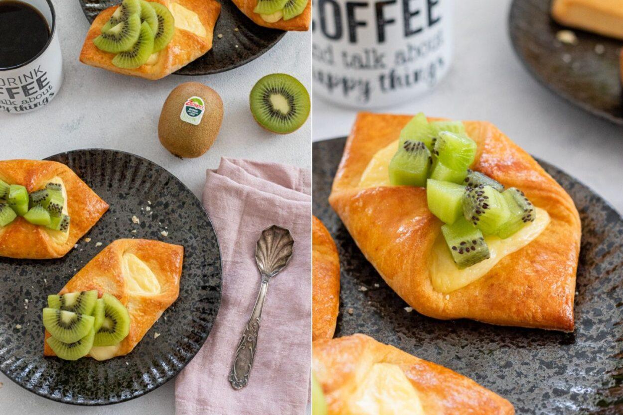 Rezept Plunderteilchen mit Pudding und Kiwis
