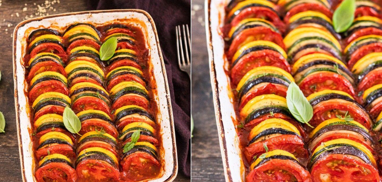 Rezept füe ein Ratatouille mit Tomaten, Zucchini, Auberginen in Tomatensauce