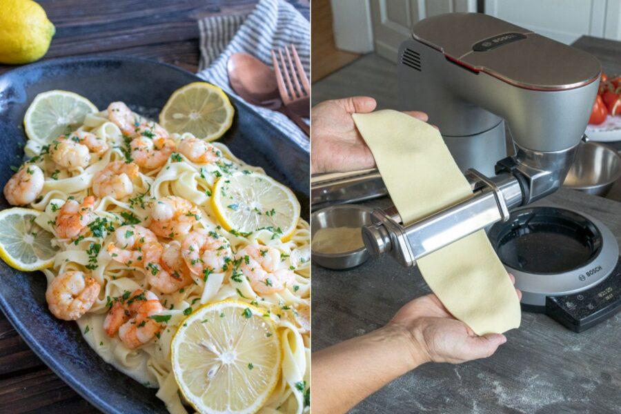 Rezept für Tagliatelle mit Garnelen in Zitronensauce