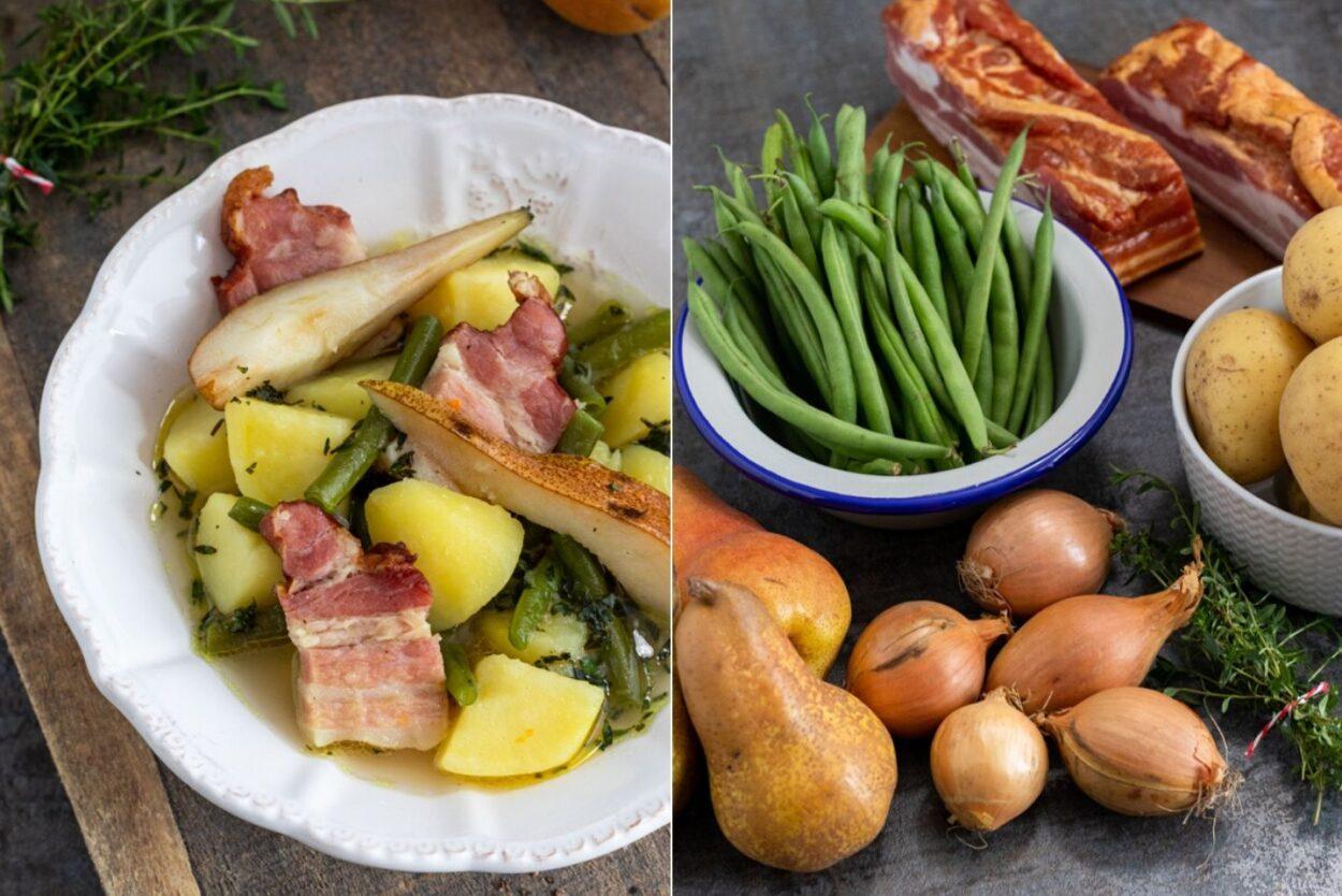 Rezept für einen deftigen Birnen, Bohnen und Speck Eintopf