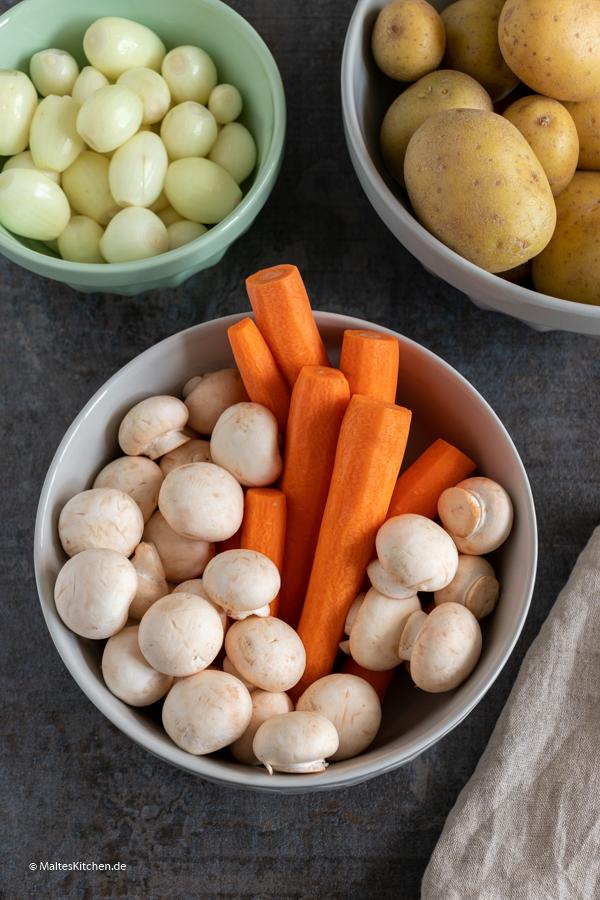 Gemüse für das Boeuf Bourguignon