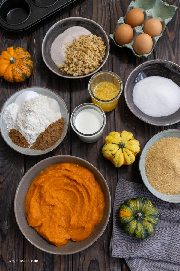 Alle Zutaten für die leckeren Kürbis-Pekannuss Muffins