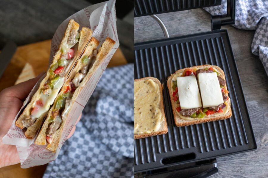 Rezept für ein leckeres Steak Sandwich mit Paprika, Käse und Pfeffer-Mayo