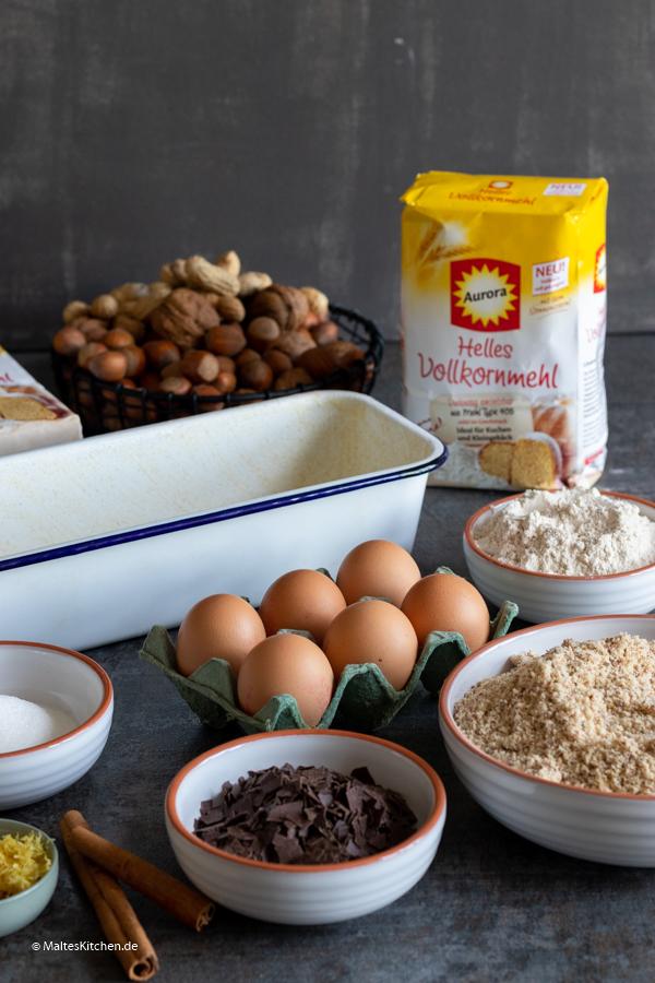 Zutaten für den Tiroler Nusskuchen
