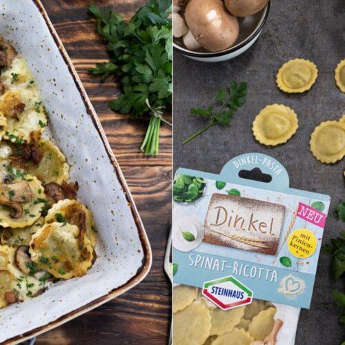 Rezept für einen leckeren Dinkel-Pasta Auflauf mit Speck und Käse