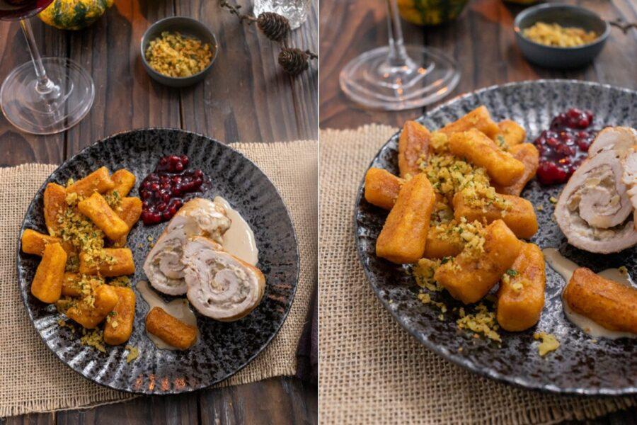 Rezept für eine gefülllte Putenroulade mit Süßkartoffel Gnocchi