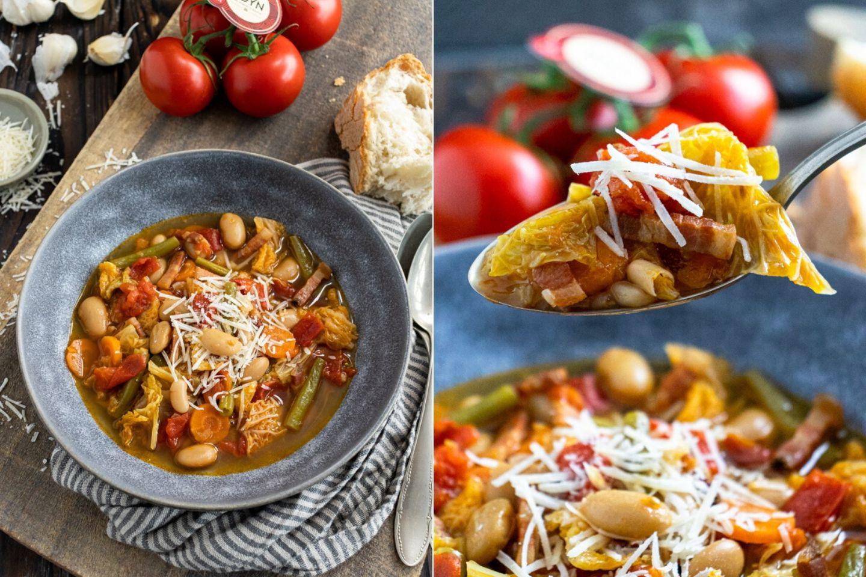 Rezept für einen Gemüseeintopf miot Wirsing, Bohnen und Tomaten