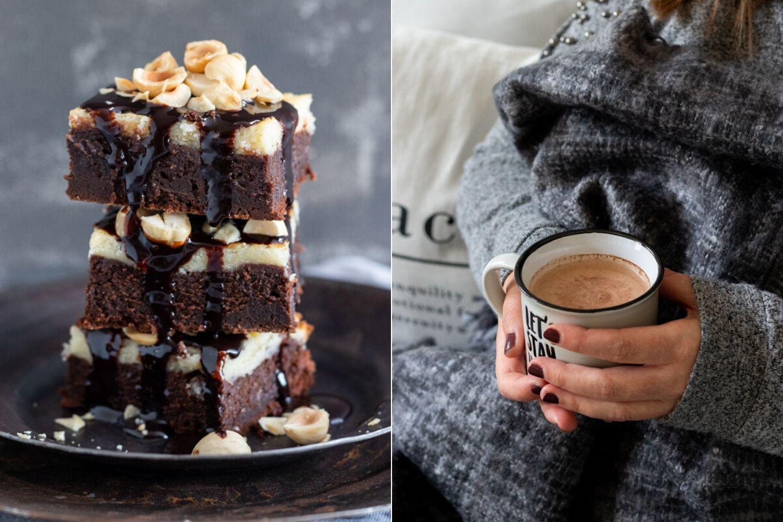 Rezept für einen saftigen Brownie mit Käsekuchenhaube und Kakaosauce