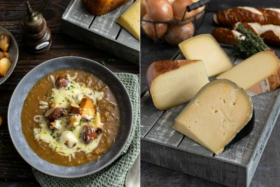 Rezept für eine deftige Zwiebelsuppe mit Bier, Käse und Laugenbretzel-Croutons