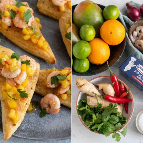 Rezept knusprige Knoblauch-Ecken mit Garnelen und Mango-Chutney