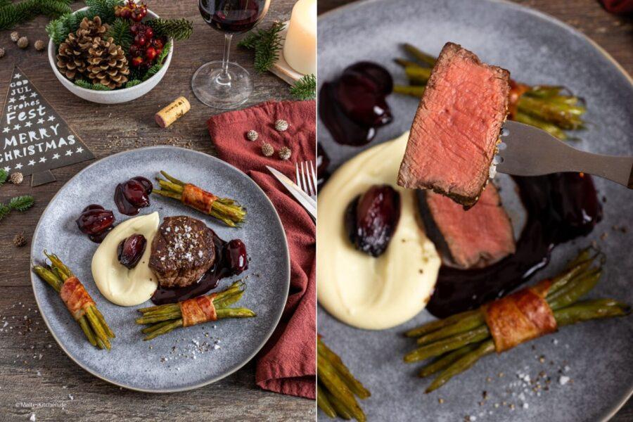 Rinderfilet mit Rotwein-Shcalotten-Sauce und Selleriepüree