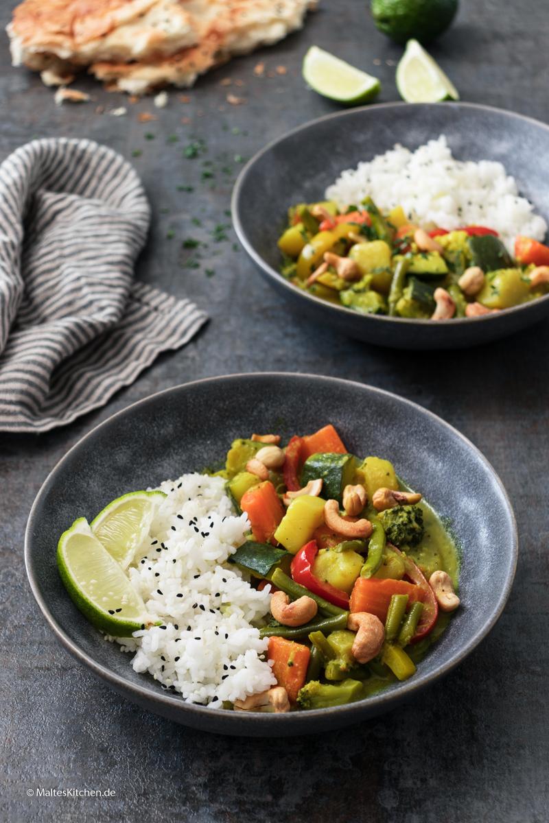 Schnelle gekochtes Gemüse-Curry mit Kartoffeln