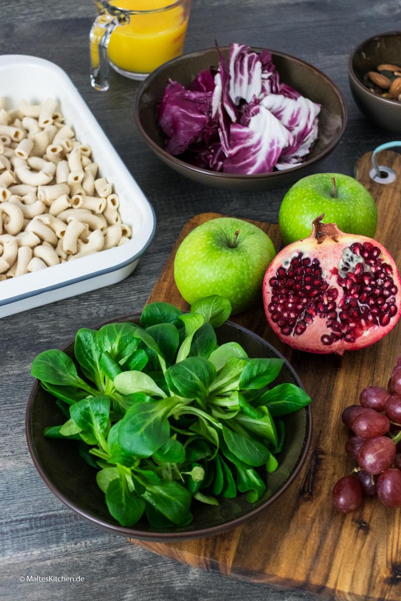 Zutaten für meinen winterlichen Nudelsalat