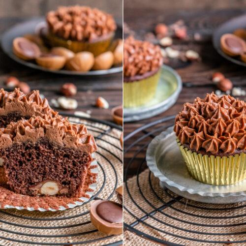 Rezept für schokoladige Toffifee Muffins mit Nougat-Topping